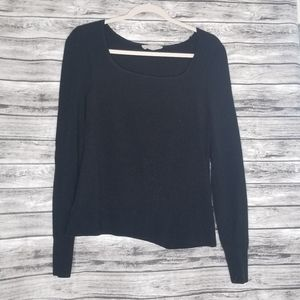 Everlane Black Square Neck Ribbed Top Long Sleeve